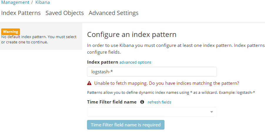 Unable to fetch mapping. Do you have indices matching the pattern