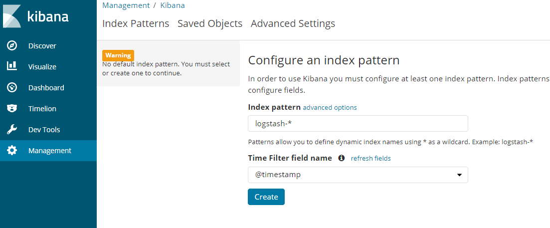 Configure an index pattern