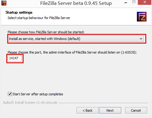 FileZilla Server 安装-配置选择