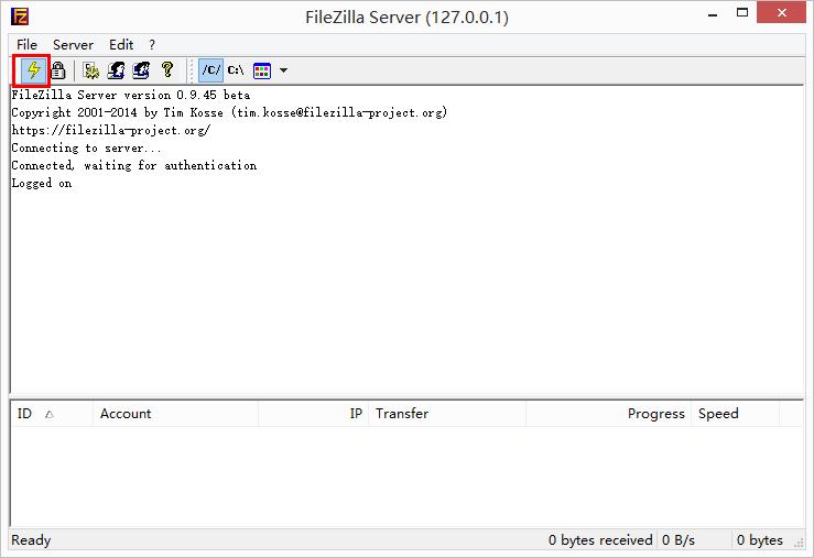 FileZilla Server 主界面