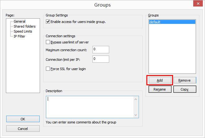 FileZilla Server 用户组配置