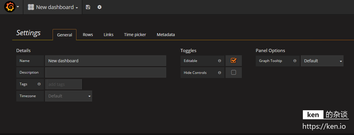 Grafana Dashboard Settings