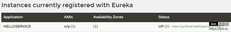 eureka instance registered